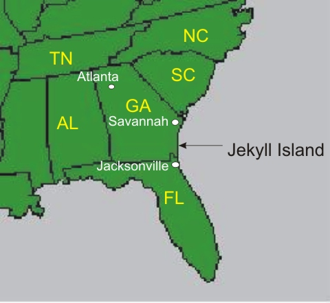 Map of Southeast USA Showing Location of Jekyll Island